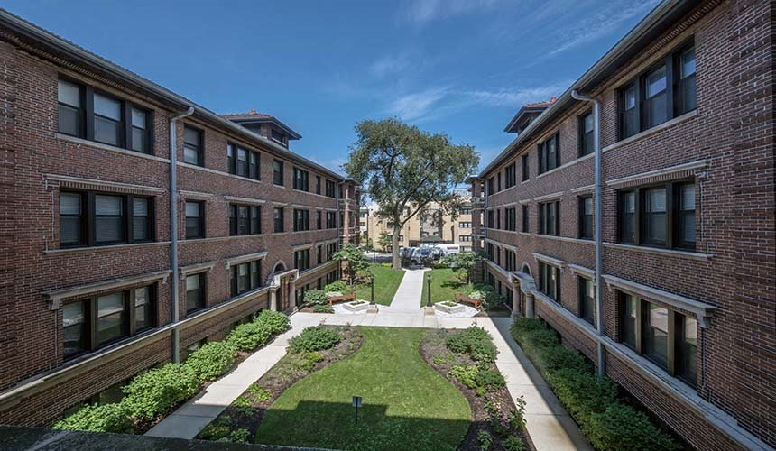 Beautiful Courtyard Views at at Reside on Irving Park, Chicago, IL,60613